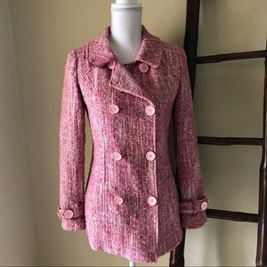 Stunning! Pink tweed double-breasted lined blazer
